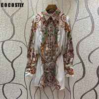 New Celebrity Inspired Women's Dress 2019 autumn Ladies Turn down Collar Ethnic Print Full Sleeve Casual Long Shirt Dress Ladies