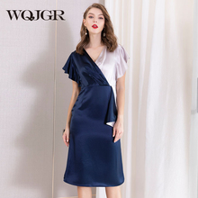 WQJGR Summer Dress 2019 News V-neck  Elastic Waist Splicing Short Sleeves Women High Quality Party