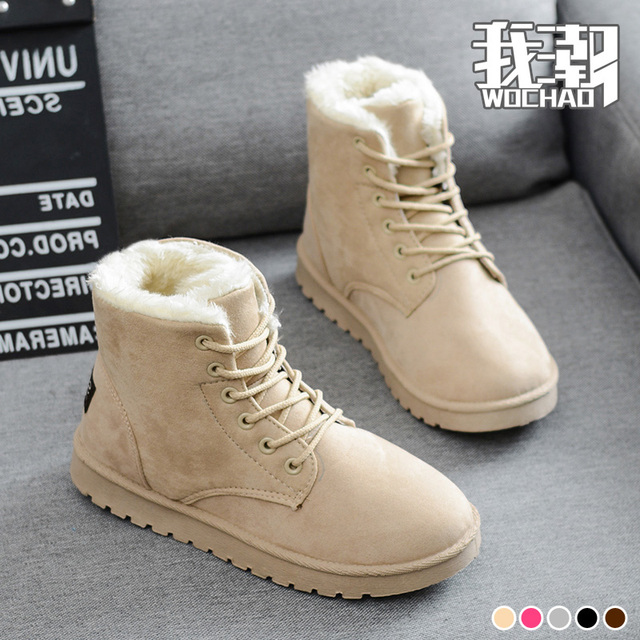 Autumn and winter snow boots women s shoes flat heel plus velvet thickening  scrub lacing short cotton 9c2ad742a