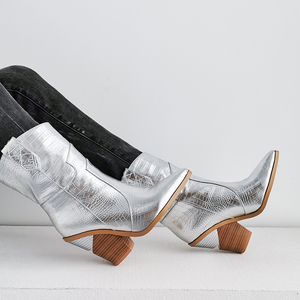 Image 5 - 2019 جديد الشتاء أحذية كاوبوي ل حذاء نسائي بكعب عالٍ الفراء داخل الغربية الأحذية حذاء من الجلد للنساء موضة الذهب الفضة حذاء امرأة