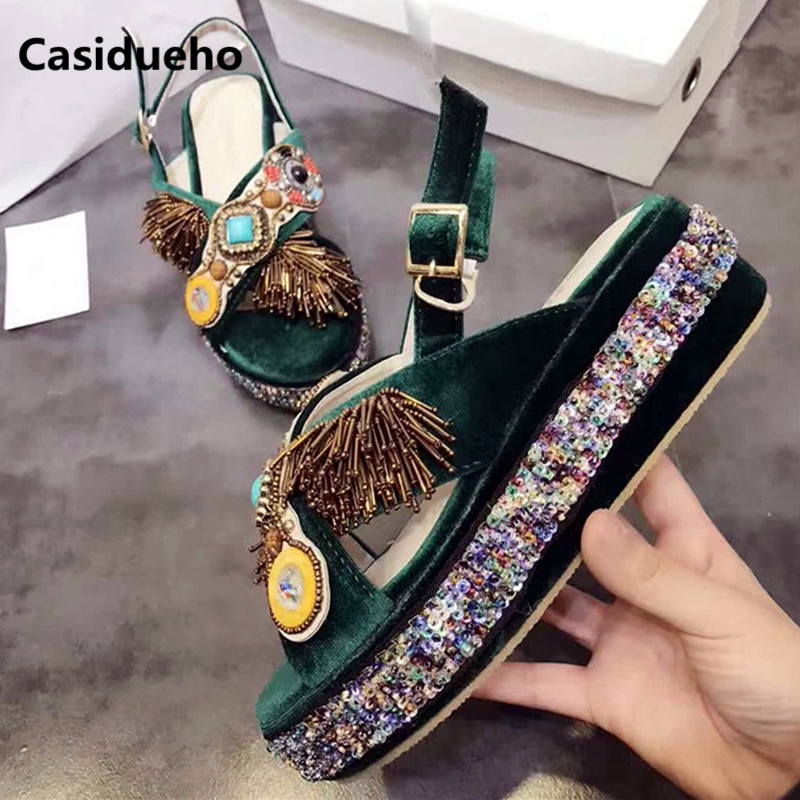 Casidueho Sequins Platform Sandalias Mujer 2018 Flock Wedges Fringe Shoes Woman Bohemia Dress Gladiator Sandals Women Slippers