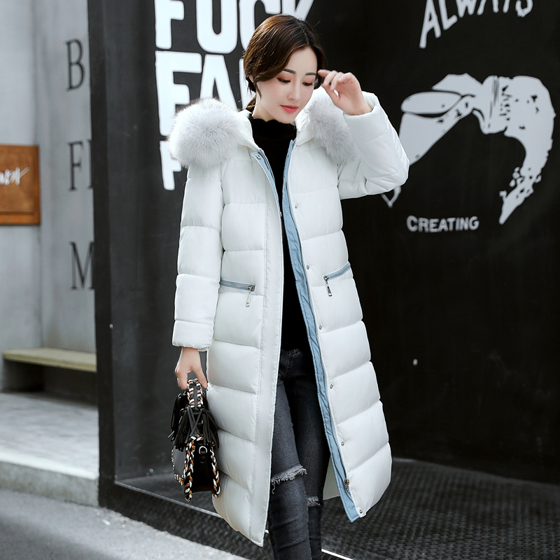 2017 Fashion Big Fur Collar Winter Coat Women Thick Warm Cotton Padding Parka Ladies Plus Size 3XL Winter Jacket Women Long Coat winter jacket female parkas hooded fur collar long down cotton jacket thicken warm cotton padded women coat plus size 3xl k450