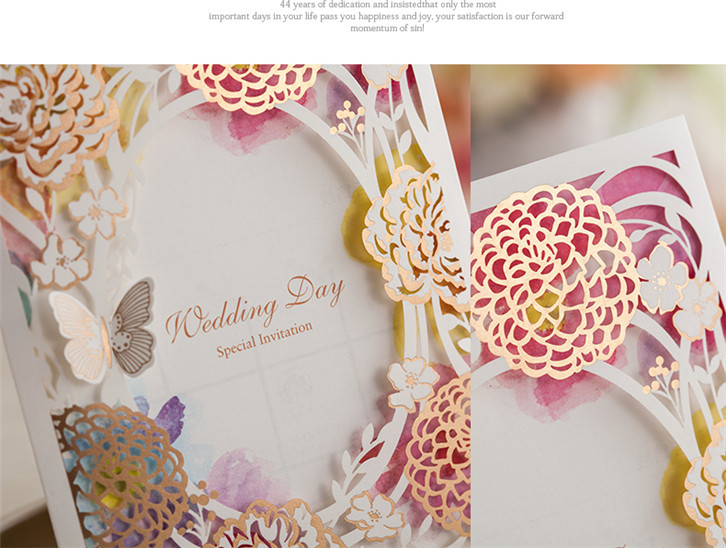 Wishmade Cutout Design Wedding Cards With Flower Color Invitation Laser Cut Card Cw065 In Invitations From Home Garden On Aliexpress