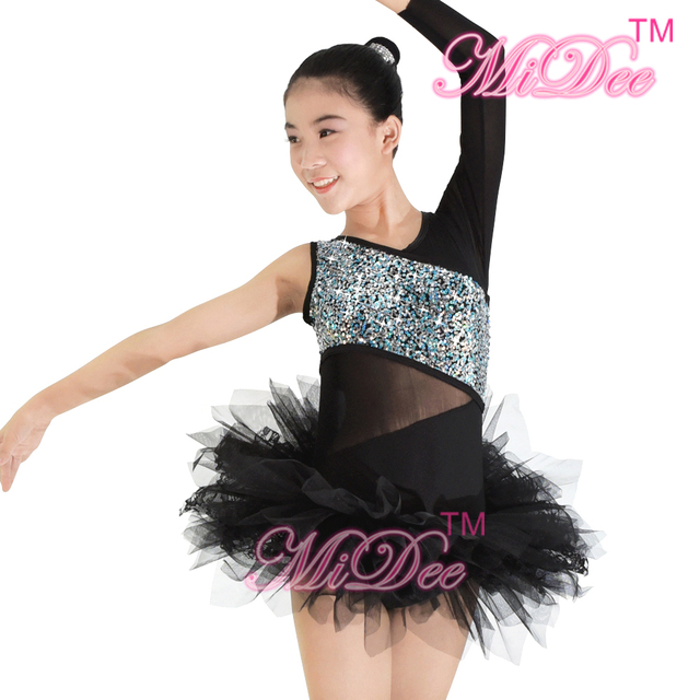 55f5eade66a5 MiDee One Sleeve Asymmetric Ballet Tutu Dress Dance Costumes Leotard Black  Swan Lake Stage Performance Costumes For Girls-in Ballet from Novelty &  Special ...