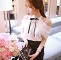 Fashion Summer Women Ruffle Off Shoulder Halter O-neck Chiffon Shirts Blouse Korean Style Butterfly Sleeve White Top With Bow