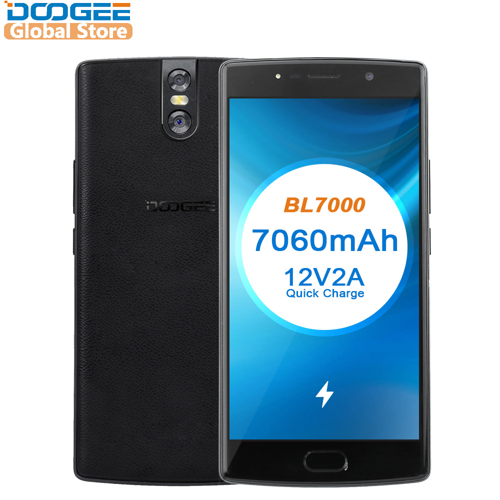 DOOGEE BL7000 7060 mAh Android 7.0 MTK6750T 12V2A Quick Charge 5.5 ''FHD Octa Núcleo 64 4 GB RAM GB ROM telefone Móvel Dual 13.0MP