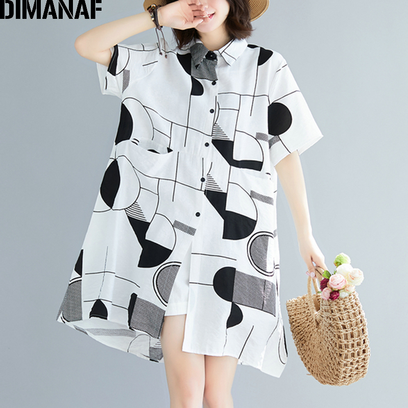 DIMANAF Plus Size Women   Blouse     Shirts   Big Size Summer Lady Tops Tunic Chiffon Loose Casual Print Geometric Female Clothes 2019