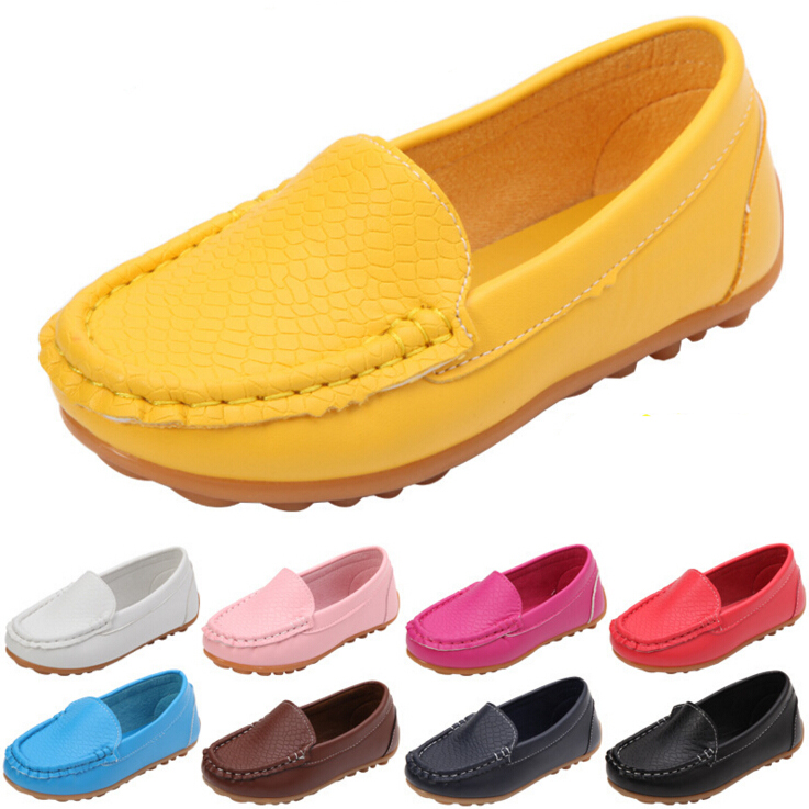 12 Colors All Sizes 21-36 Children Shoes PU Leather Casual Styles Boys Girls Shoes Soft Comfortable Loafers Slip On Kids Shoes(China)