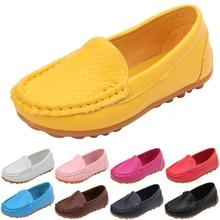 12 цветов, все размеры 21-36, детская обувь из искусственной кожи, повседневные стильные туфли для мальчиков и девочек, мягкие удобные лоферы, детская обувь без шнуровки