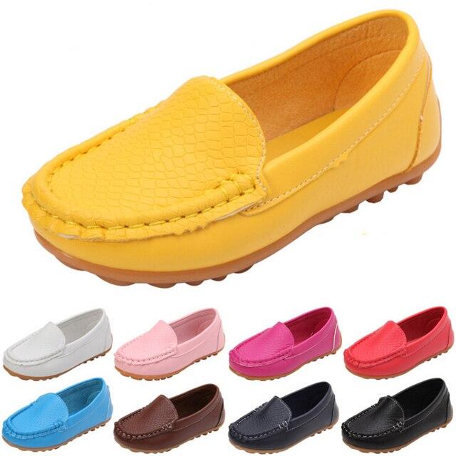 12 צבעים כל גדלים 21-36 ילדי נעלי עור מפוצל מזדמן סגנונות בני בנות נעלי נוחות רכה להחליק על ילדים נעלי