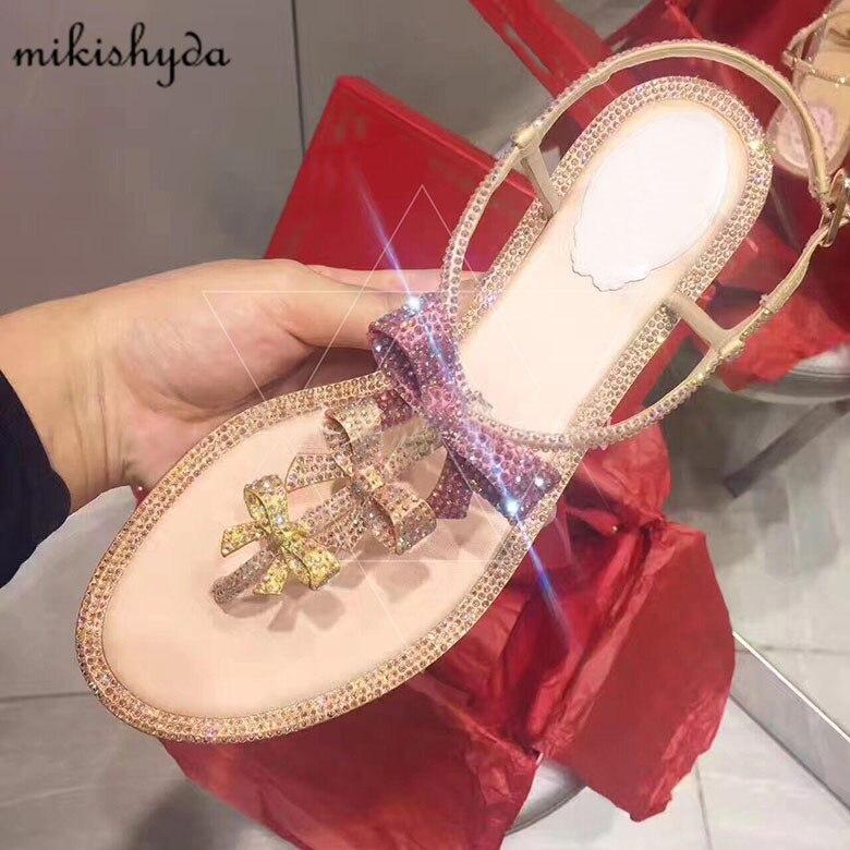 Chaussures As Strass Sandales Cuir Flops Gladiateur 2017 Femmes Diamant En Flip Plat Picture Doux De Noeud Cristal Papillon Soirée 3RS4jLcA5q