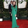 Angelina Jolie Red Carpet Celebrity Dress Sexy verde lentejuelas encuadre de cuerpo entero una línea sin respaldo de manga larga vestido de noche Made In China