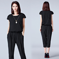 Large Size Suits Female Fashion New Summer Women S Temperament Stripe Two Piece
