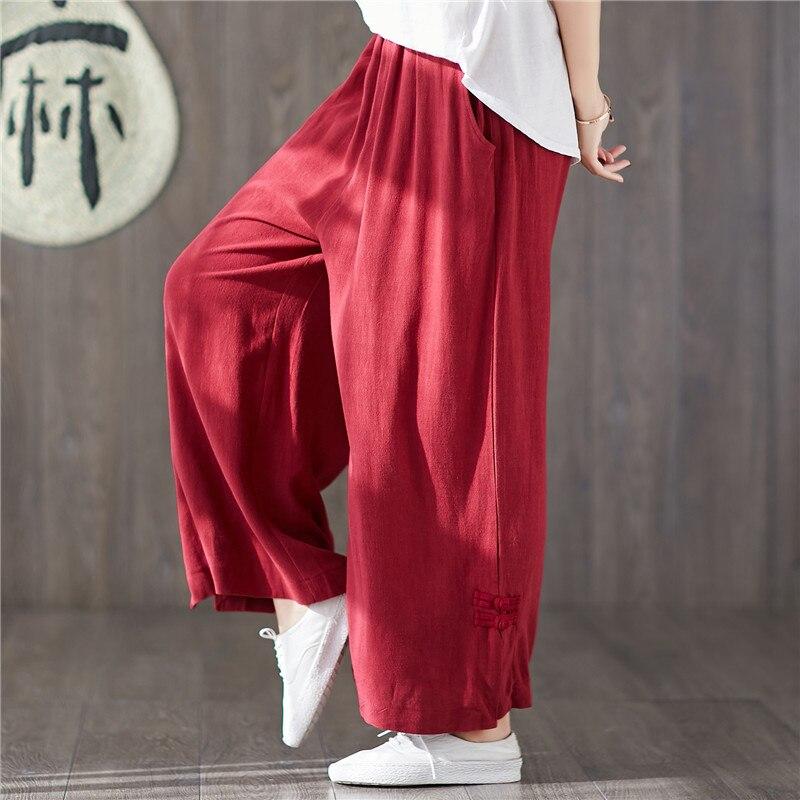 Fashion 2019 Summer women cotton linen   wide     leg     pants  ,plus size M- 6XL 7XL causal trousers,comfortable full long large   pants