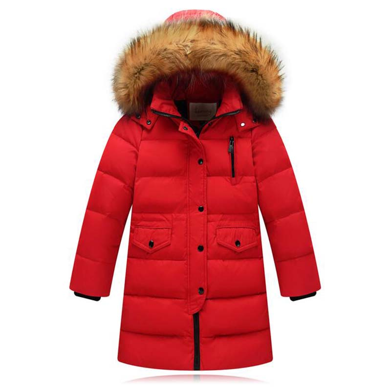 2017 Children White Duck Down Jackets hooded long girls Fur Collar coats high quality kids casual winter outwear for 3-12Years kindstraum 2017 super warm winter boys down coat hooded fur collar kids brand casual jacket duck down children outwear mc855