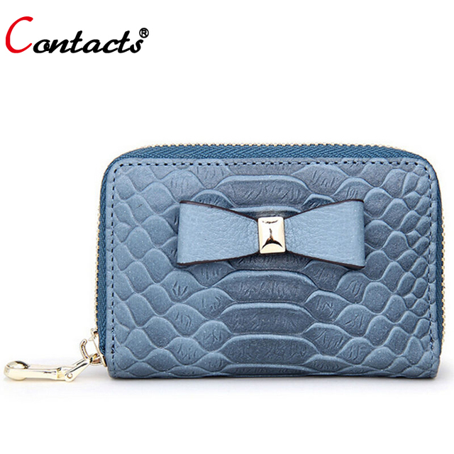 CONTACT'S Classic women credit card holder bow genuine leather  ID card wallet high quality coin purse card case designer 2017