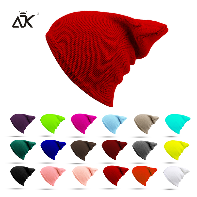 ADK Cotton Winter Hats Outdoor Female   Skullies     Beanies   Casual Solid Color Knitted Hat Unisex Cap For Men Hip Hop DIY   Beanies