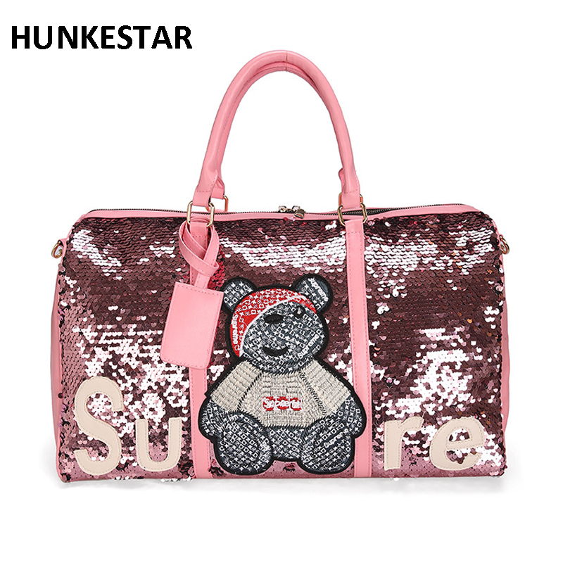 7dfde5a3f5e3 US $17.54 35% OFF|2019 wholesale sequins sport bags ladies leather gym bag  women fitness Training Luggage handbag travel duffel bag for womens-in Gym  ...