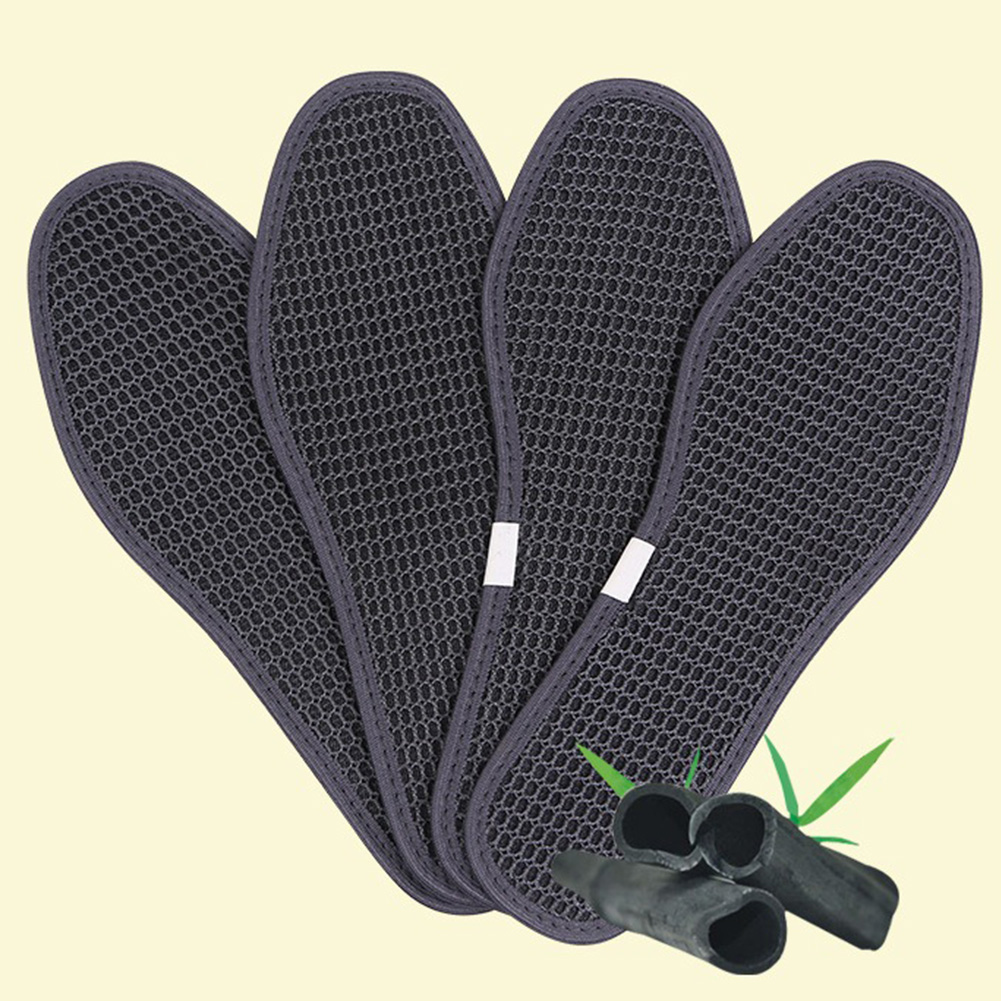 Unisex Foot Insoles Outdoor Bamboo Charcoal Cushion Breathable Sports Dry Deodorant Antibacterial Ice Silk Hiking Shoe Pads Care