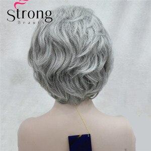 Image 4 - สั้นนุ่มหนาหยักชั้นสีเงินสีเทาเต็มสังเคราะห์วิกผมวิกผมของผู้หญิง