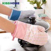 4 Color Heat Sputtering Resistant Kitchen Gloves Thick Barbecue Grilling Glove Silicon BBQ Grill Oven Mitt Pot Cooking Holder lovely heat resistant kitchen silicon glove for oven yellow