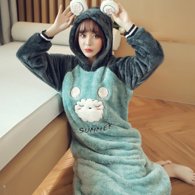 Daeyard Flannel   Nightgown     Sleepshirts   Women Fall Winter Thicken Coral Fleece Long Sleeve Nightdress Hooded Animal Cute Sleepwear