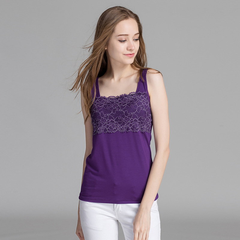 Women Built In Padded Bra Lace Tank Top Summer Sleepwear