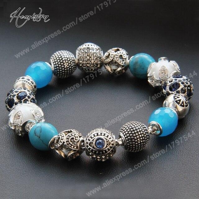 Thomas Style Blue Sea Beads Bracelet, European Glam Fashion Jewelry Soul Gift for Women TS KB109