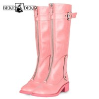 Fashion Womens Knee High Cow Real Leather Boots Punk Zipper Winter Fleece Lining Riding Boots Block Heels Knight Shoes