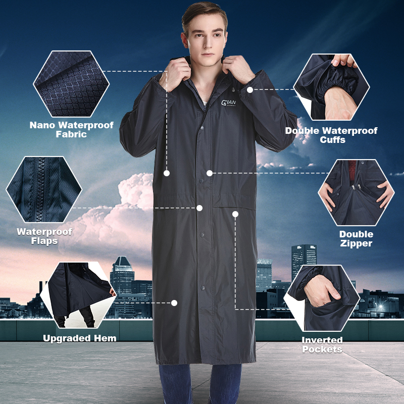 QIAN Impermeable Raincoat Women/Men Waterproof Trench Coat Poncho Double-layer Rain Coat Women Rainwear Rain Gear Poncho
