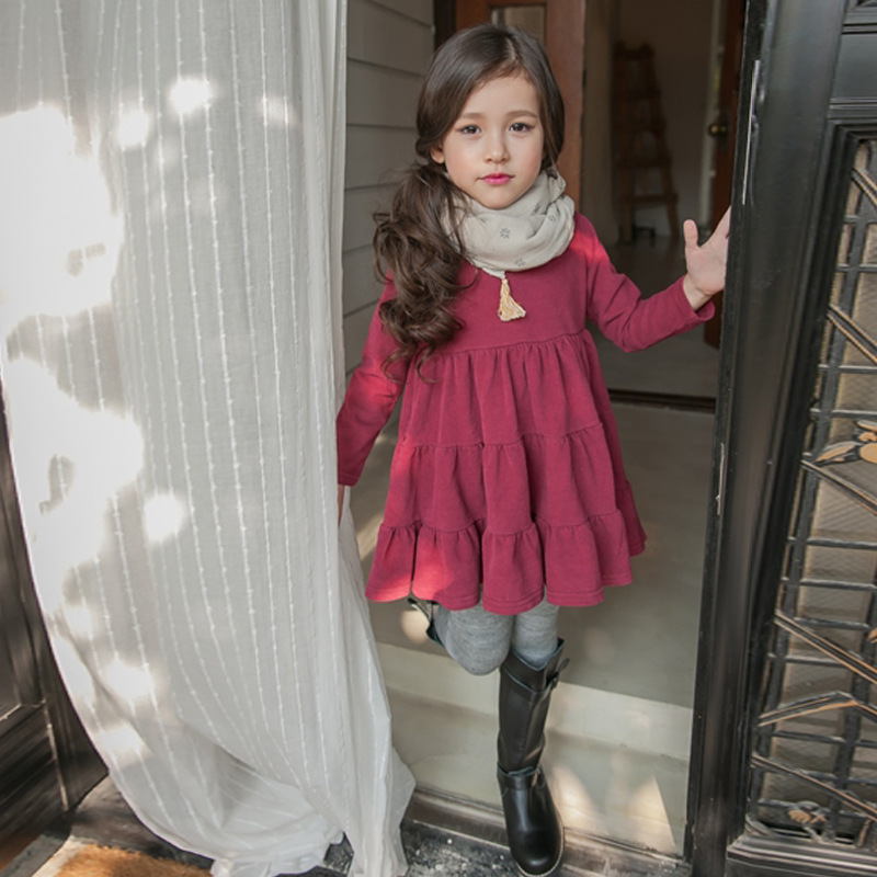 YNB Red Brown Cotton Long Sleeve Girls Dress, Brand 5~12Y Children Girl Princess Dresses, 2017 Spring Children Clothing for Girl acthink 2017 new girls formal solid lace dress shirt brand princess style long sleeve t shirts for girls children clothing mc029