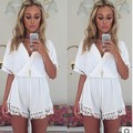 2016 Summer Monos For Women Tropical Lace Hollow Out White Casual Jumpsuits V Neck Sexy Shorts Macacao Female Clothes Coveralls