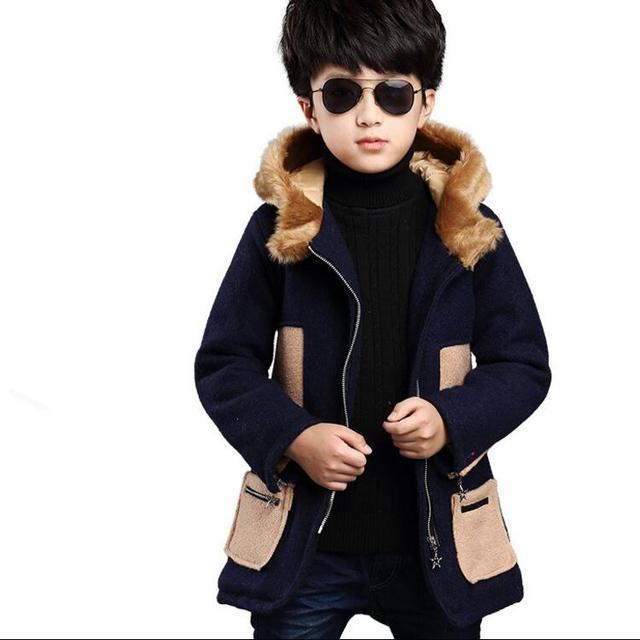 Новые Мальчики Шерстяные Пальто Англия Стиль Меха С Капюшоном Мальчики Верхняя Одежда Осень Зима Дети Пальто для 5-12 Лет