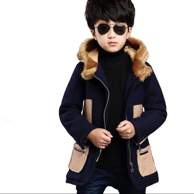 New Boys Woolen Coats England Style Fur Hooded Boys Outerwear Autumn Winter Children Coats for 5-12 Years