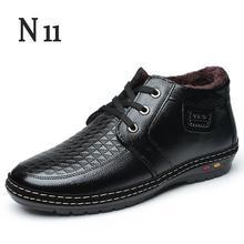 N11 Botas Hombres Zapatos Nuevos 2017 hombres de Invierno Botas con cordones hombres Botas de Nieve Caliente Con Cuero Genuino de la Felpa de Goma de Los Hombres botas