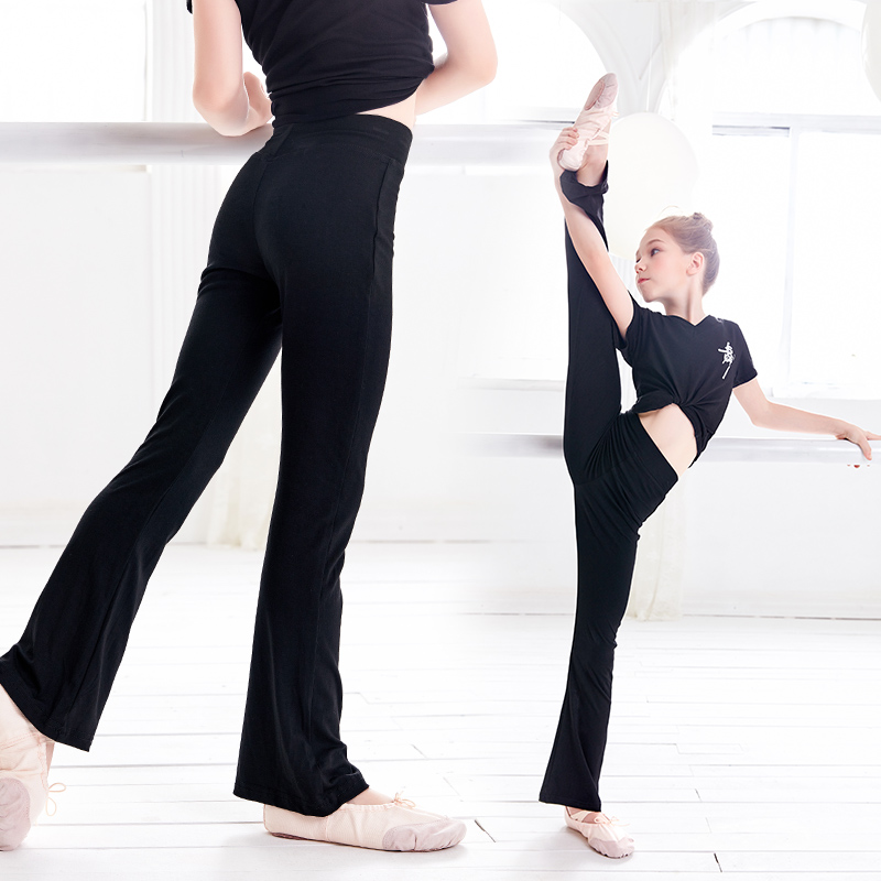 Girls Casual Black Pants Flare Trouser Cotton Gymnastics Fitness Ballet Dance Pants For Children