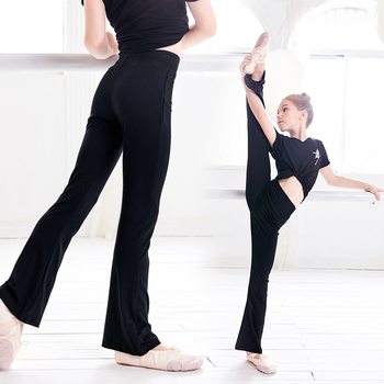 Girls Casual Black Pants Flare Trouser Cotton Gymnastics Fitness Ballet Dance For Children - discount item  21% OFF Stage & Dance Wear