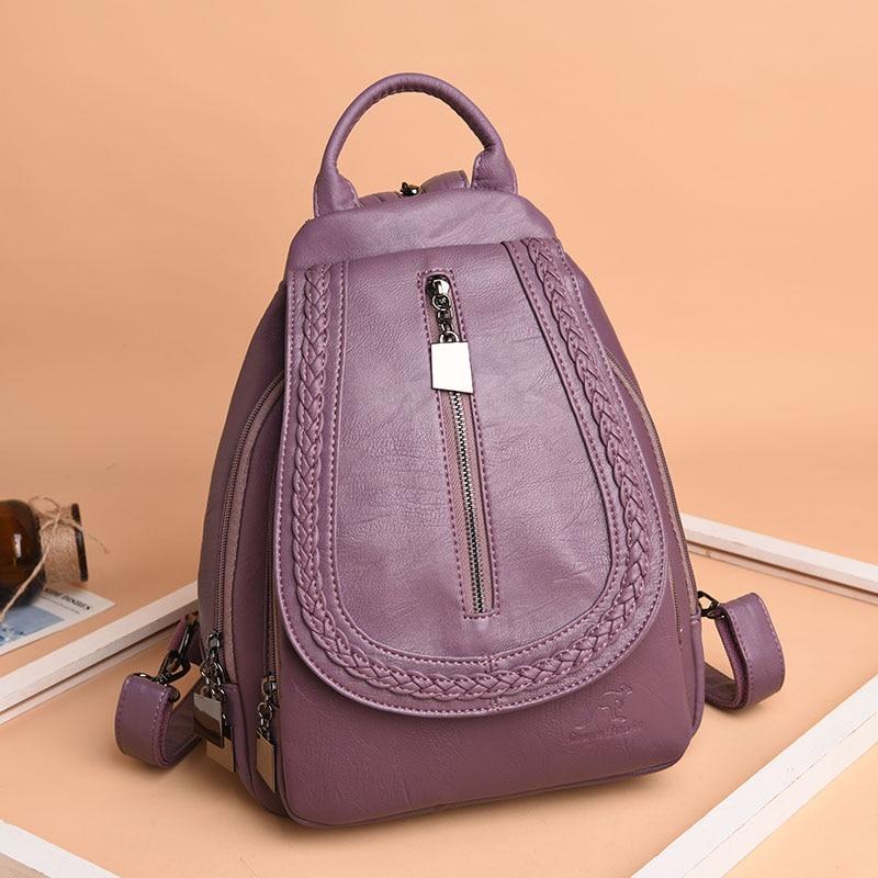 HTB1OektFbuWBuNjSszgq6z8jVXaG Women Leather Backpacks Zipper Female Chest Bag Sac a Dos Travel Back Pack Ladies Bagpack Mochilas School Bags For Teenage Girls