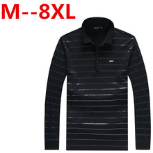 Plus size Free shipping 6XL 5XL 2017 Letters Embroidered Men Strip Polo Shirt Turn-down Collar Casual Cotton Polo Shirt large