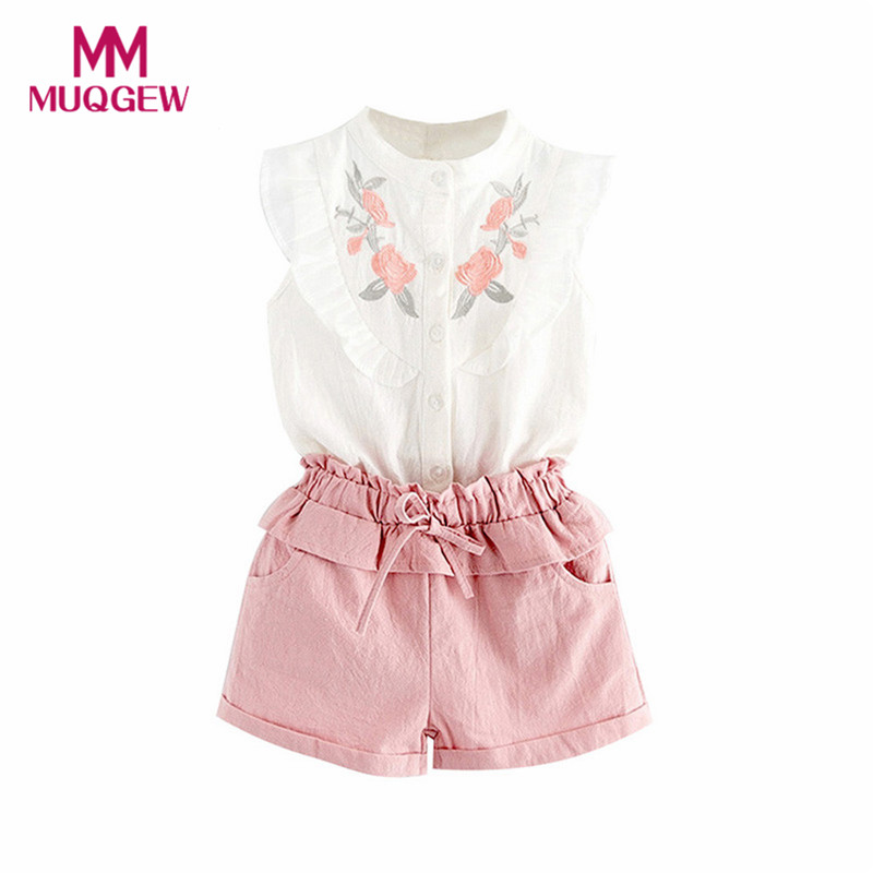 MUQGEW Toddler Kids Baby Girl Outfit Clothes Embroidery T-Shirt Tops+Shorts Pants Set disfraces infantiles clothes moda infantil 2pcs children outfit clothes kids baby girl off shoulder cotton ruffled sleeve tops striped t shirt blue denim jeans sunsuit set