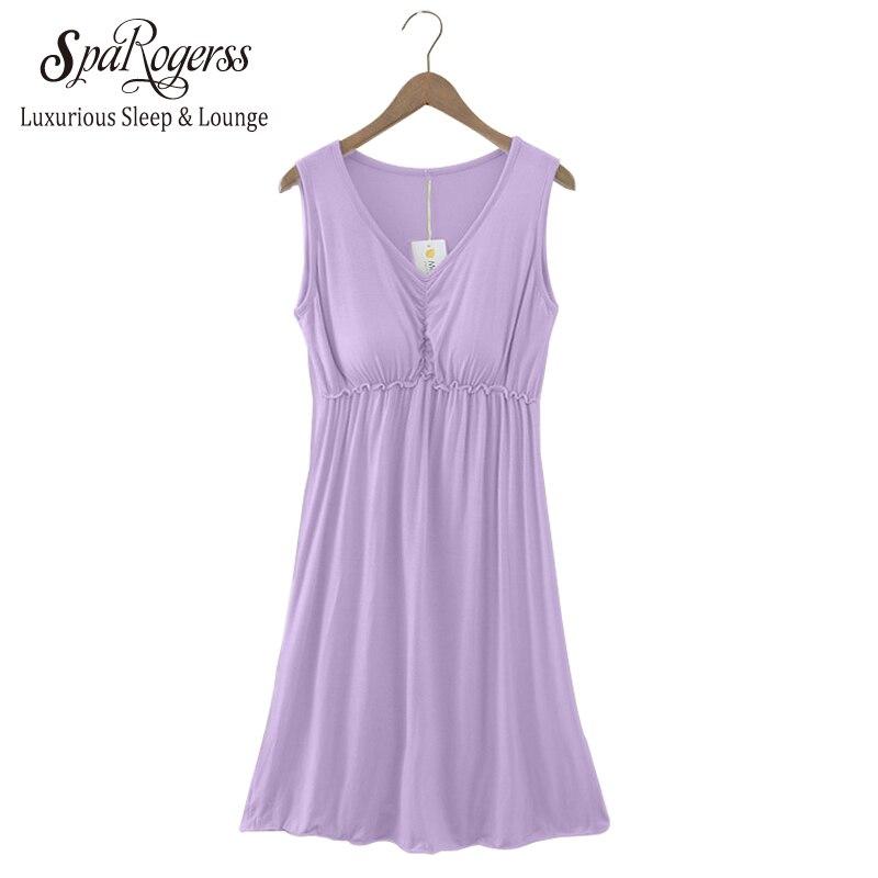 2018 Spring Autumn New Modal Cotton Nightgown With Bra -2835
