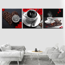 Coffee coffee beans red rose modern Modular 3 panel wall Poster Nordic Canvas painting for Living Room Home Decor(China)
