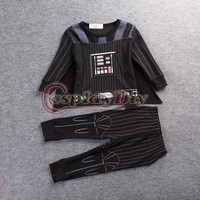 Cosplay Star Wars Darth Vader Kids Onesies Winter Autumn Pajamas Homewear Halloween Carnival Cosplay Costume Custom