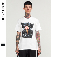 INFLATION 2017 New Style Flower Printing DELUSIVE Printing T Shirt Short Sleeve Tee Black White Color