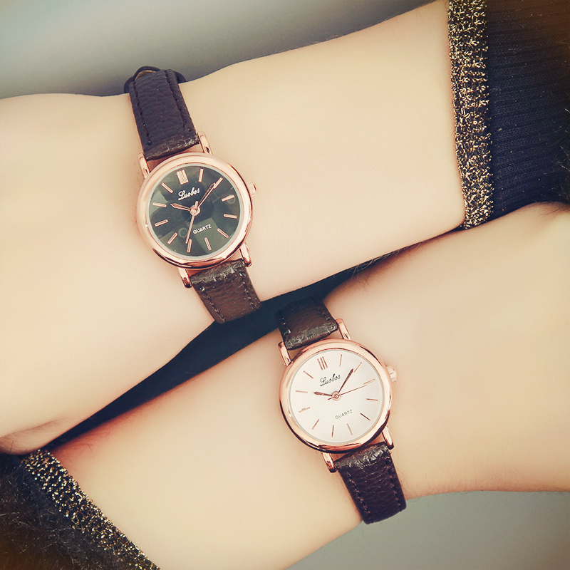 Luobos New Fashion Watch Women Simple Elegant Style Leather Strap Little Golden Dial Casual Quartz Watch Ladies Popular Clock