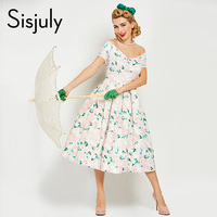 Sisjuly Vintage 1950s Summer Women Retro Dress With Print Flowers 50s Short Sleeves V Neck A