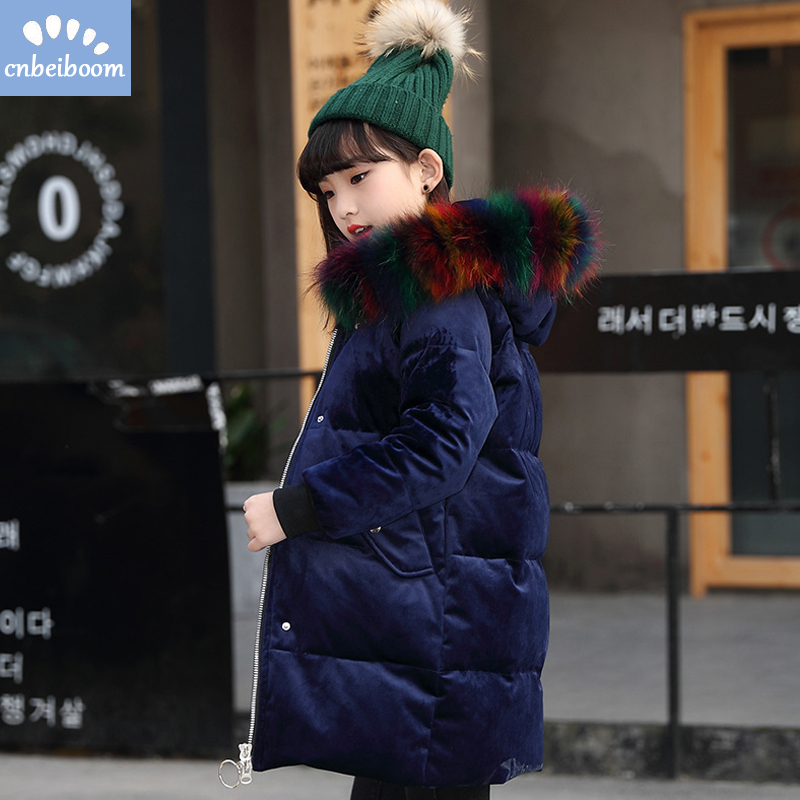 Kids girls down parka down coats girl winter Jacket raccoon fur hooded coat -30 degree warm snow outerwear clothes 2018 new year winter jacket women 2017 army green coat real raccoon fur collar hooded warm down jacket parka womens coats and jackets dhl free