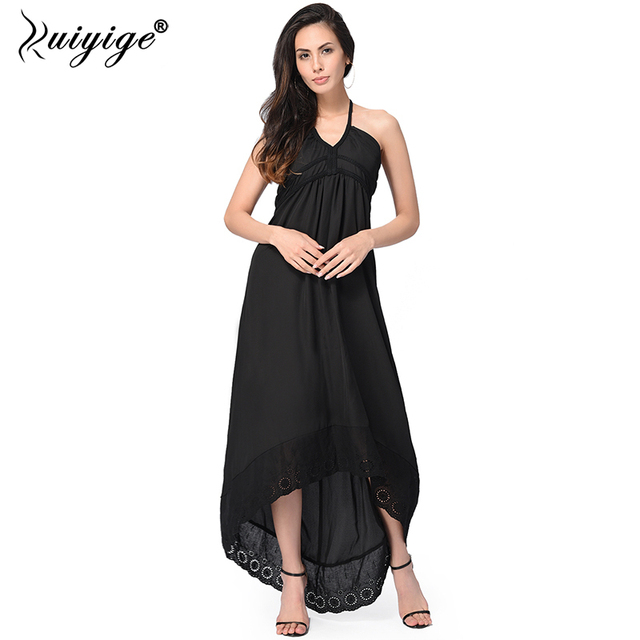 5b8a2830921 Ruiyige Summer Halter Backless Sexy Solid Casual Maxi Dress Women Office  Party Dresses Sundress Holiday Long Bench Vestidos
