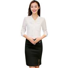 2018 Fashion Korean Style Summer Office Work Wear Fashion Elegant Bow Long Sleeve Women Solid Blouse Tops Blusa Feminina #Z1(China)
