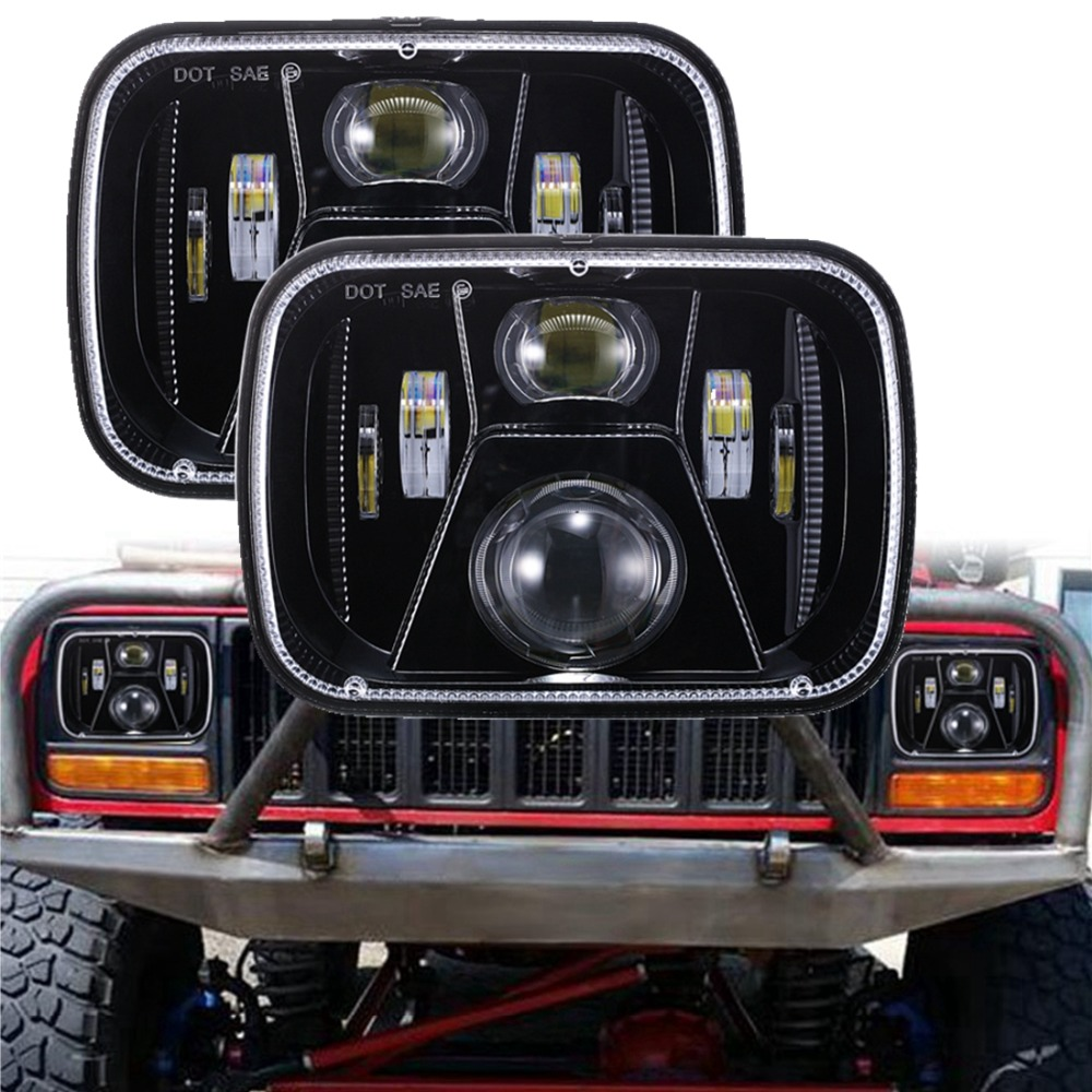 New 110W 5x7 Led Headlights 7x6 Led Sealed Beam Headlamp with High Low Beam H6054 6054 Led Headlight for Jeep Wrangler YJ 1 pair 5x7 7x6 inch rectangular sealed beam led headlight for jeep cherokee h6014 h6052 h6054 h6052 led headlight